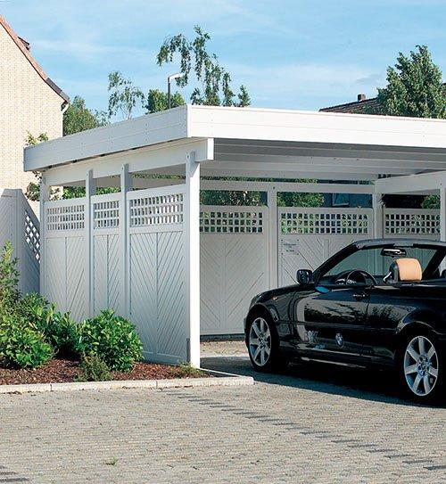 carports garagen holz carport douglasie birkenweiss lackiert scheerer holzland beese - Carports & Garagen