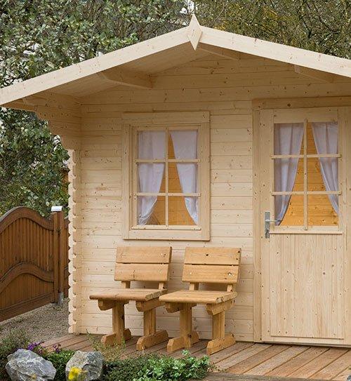 gartenhaus holz bank stuhl detail natureline wolff finnhaus holzland beese - Gartenhäuser