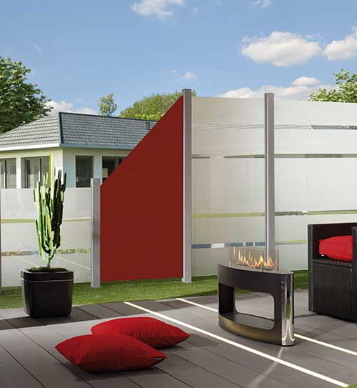 sichtschutzzaun board kombination rot glas board bruegmann holzland beese - Kunststoff/HPL