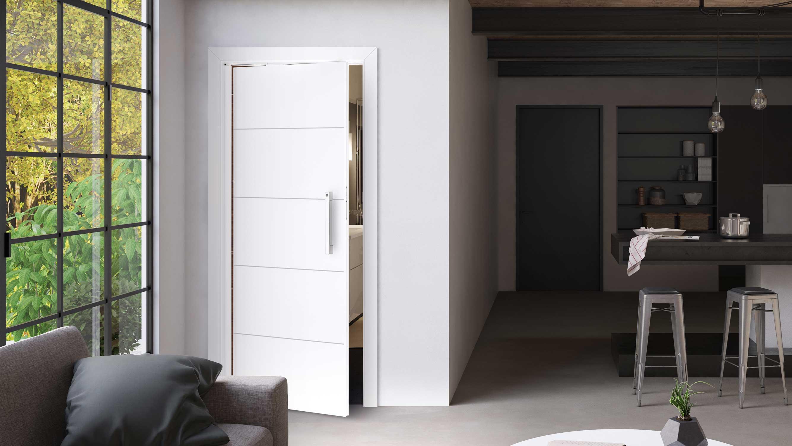 Weißlacktüren: Hier leicht geöffnet neben einem Fenster im Wohnbereich (HolzLand Beese in Unna, Raum Dortmund)