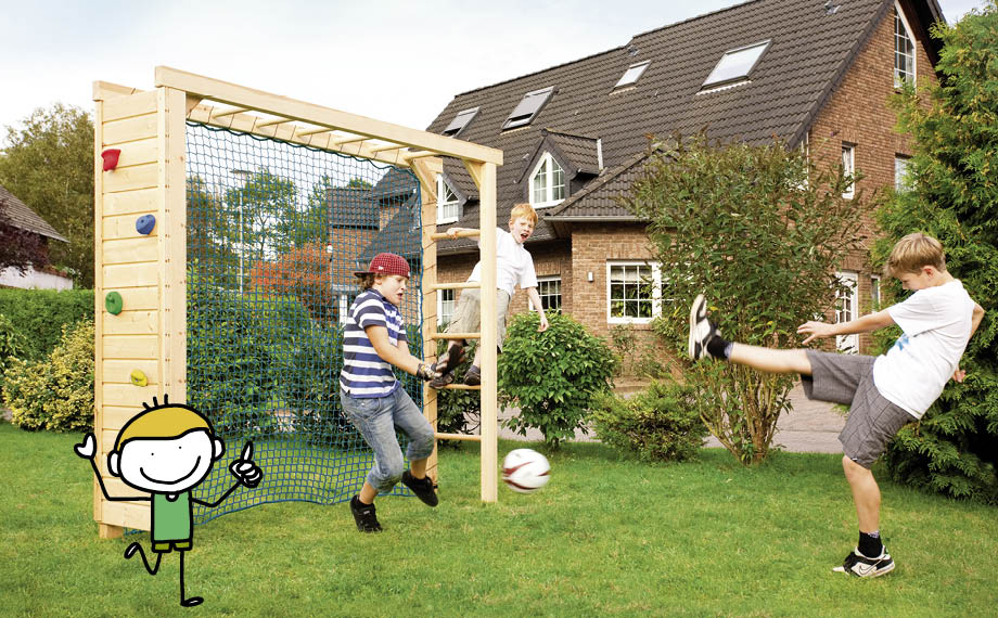Spielgeräte im Garten: Fußballtor mit Kletterwand von HolzLand Beese in Unna (Raum Dortmund)