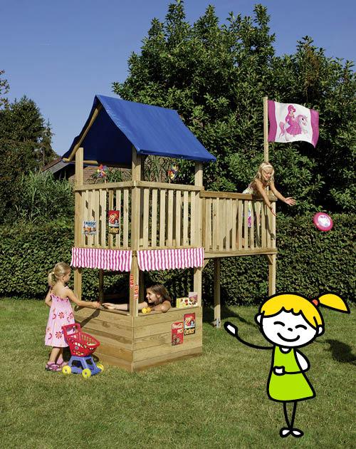 Ein Spielturm (Spielgeräte) im Garten als Schloss für die Prinzessin bei Holzland Beese in Unna (Raum Dortmund)