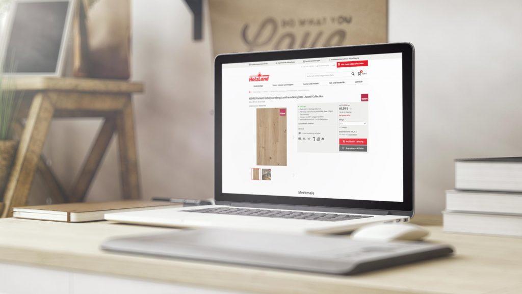 Onlineshop von HolzLand Beese auf einem Laptop