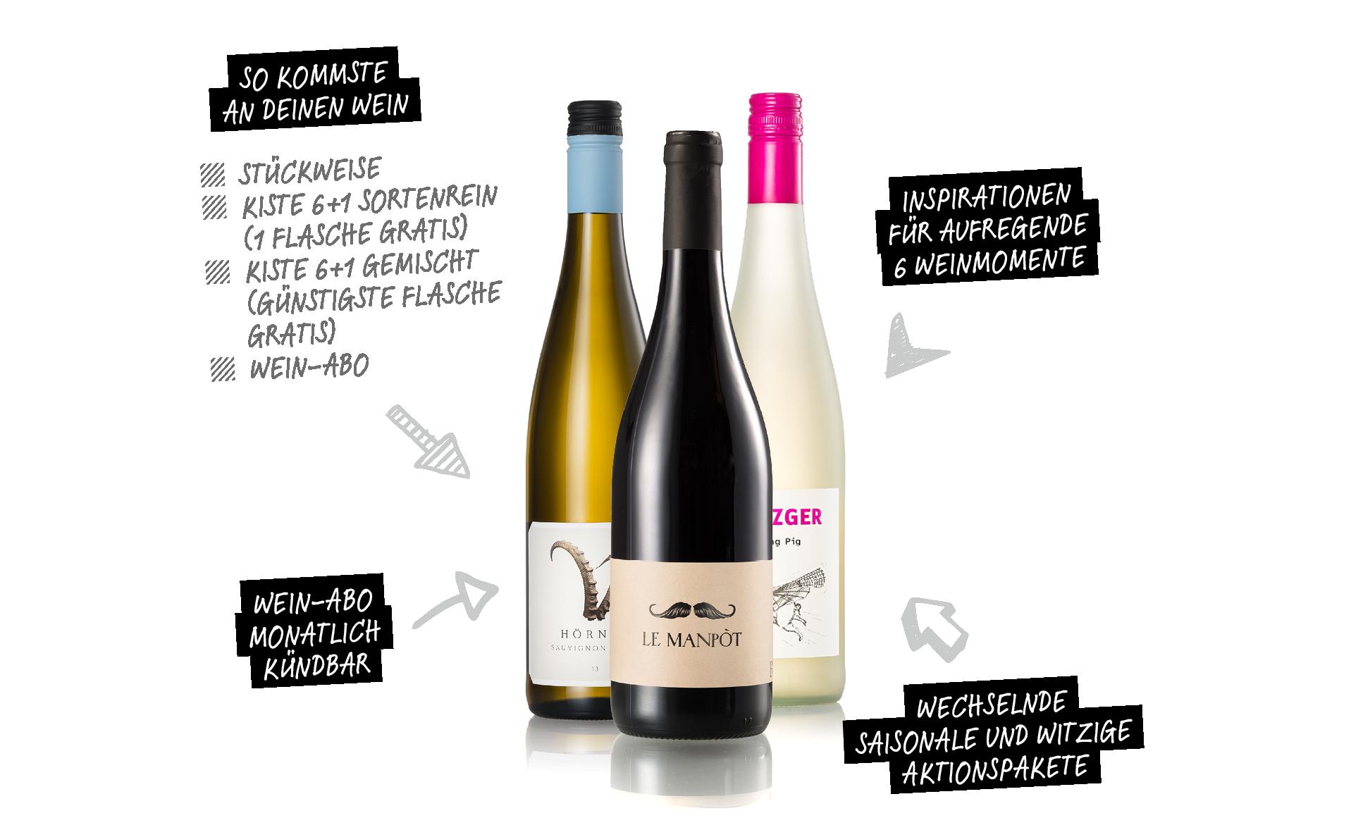 3 Flaschen BEESondere Weine aus dem Wein-Abo von HolzLand Beese in Unna