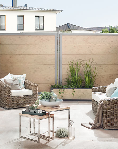 Sichtschutzzaun in Sanddesign von HolzLand Beese in Unna