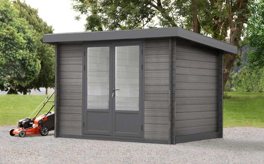Gerätehaus aus WPC mit Doppeltür aus Aluminium von HolzLand Beese in Unna