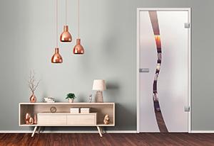 Satinierte Glastür als Drehtür mit durchsichtigem Bereich in vertikaler Wellenform von HolzLand Beese
